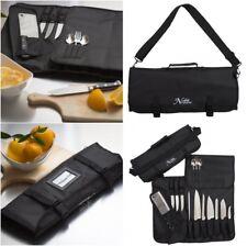Chefs Knife Roll Storage Bag Kitchen Tools Carrier Pouch w Shoulder Strap Black