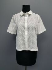 TOPSHOP TALL White Floral Print Hidden Button Down Crop Top Blouse Sz 4 DD6422