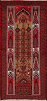 Tribal Geometric Brown Balouch Oriental Area Rug Hand-Knotted Wool Carpet 4x6