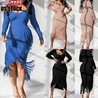 Women's Sexy Tassel Bodycon Midi Dress Long Sleeve Evening Party Dress Prom Gown