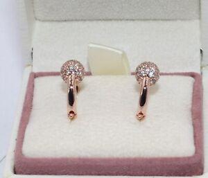 AUTHENTIC PANDORA  Pavé Bead Hoop Earrings,  288294CZ       #1929