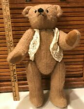 Vintage Antique Teddy Bear fully Jointed with Pearl Necklace Mohair? Estate Bear