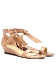 $545 ALEXANDRE BIRMAN Clarita Wedge Heels Sandals Leather Nude 36 6