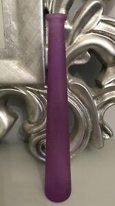 Vintage Tall Purple Pink Bud Slim Vase Art Glass Tall Skinny Round Table Smooth