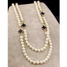 1pc White Clover Long Sweater Chain Pendant Multilayer Pearl Necklace Women