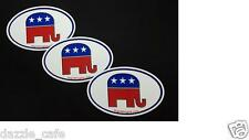 Republican Elephant Oval Stickers 3 PACK Conservative Decals 627