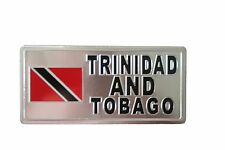 Trinidad & Tobago Country Flag-Silver Licensed Sticker Flag Plate.Size:6 X 3 In
