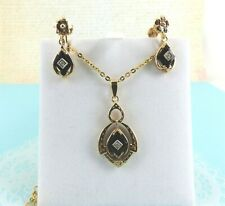 Antique Victorian 10ct 10k Gold Onyx and Diamond Ornate Pendant and Earrings Set