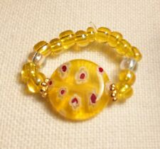 Yellow Millefiori Flower Glass Seed Bead Stretch Bijoux Ring