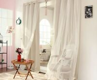 Mediterranean Blockout Double Layer Bridal Lace Sheer Eyelet Curtain Beige Cream