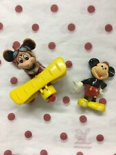 Lot Of 2 Vintage Mickey Mouse Figure & Tomy Die Cast Plane Disney-Made In Japan