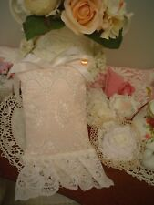 Shabby Pink eyelet lace,Vintage,Keepsake White Pillow with sachet door hanging