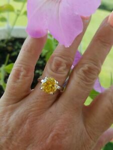 Round Mozambique Canary Yellow Zircon Solitaire Ring, 925 silver, Size 7