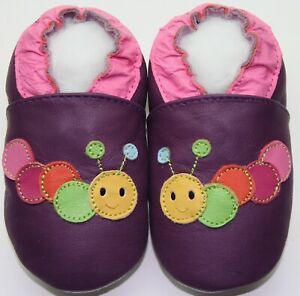 minishoezoo caterpillar purple 18-24m  soft sole leather baby shoes slippers