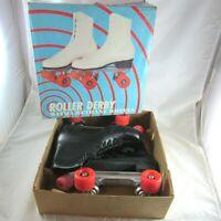 Roller Derby Skates Mens Size 9 Black 28 Urethane Orange Wheels with Box Vintage