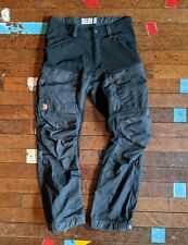 Mens Fjallraven Keb Walking Trekking Trousers EU44 Regular Leg Black / Grey