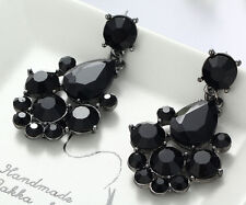 1 Pair Elegant Black Crystal Rhinestone  Ear Drop Dangle Stud long Earrings 166