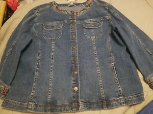 Christopher & Banks Jean Jacket Floral Embroidered NWT XL