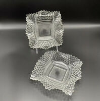 """Vintage Pair Indiana Glass Plate Dishes Diamond Pattern Ruffle Edge Clear 7"""" MCM"""