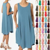 TheMogan Women & PLUS Jersey Knit Sleeveless Trapeze Pocket Loose T-Shirt Dress