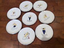 "Set Of 8 Pottery Barn Reindeer Christmas Holiday Coaster Mini Plate 4"" Saucers"