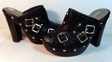 "Beauty Heel Size 5.5 Black Platform Mule with Studs and Belt Straps 4 1/2"" Heel"