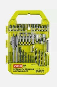 Ryobi 40 Piece Speciality Drilling & Driving Drill Bit Set Wood Steel Plastic