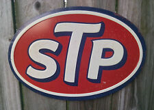 New STP Oval Embossed Metal Vintage Style Tin Sign Motor Oil Petrol Garage