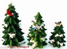 ENESCO Forest Frolic Evergreen Trees Set of 3 with Birds 1997 Retired 272743 New