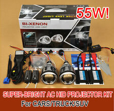 "3"" Universal Bi-Xenon HID Headlights Projector Kit Halo Angel Devil Eye AC/55W!!"