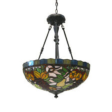 Quoizel stained glass chandeliers ebay vintage bronze leaded stained glass hanging chandelierpendant aloadofball Gallery