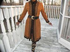 Unique Designer Russian Full Length Sable brown Suede & Shearling Fur Coat S 0-4