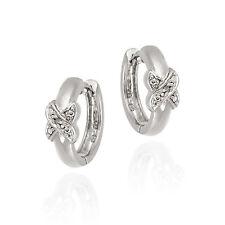 925 Silver Diamond Accent X Design Huggie Earrings