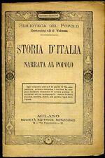 M340_STORIA D'ITALIA NARRATA AL POPOLO-BIBLIOTECA DEL POPOLO N.5-SONZOGNO1880 c.