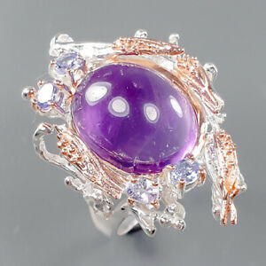 Fine Art Unique Amethyst Ring Silver 925 Sterling  Size 8.5 /R163897