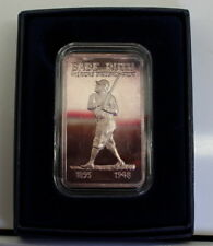 1 oz .999 silver art bar TONED! BABE RUTH - Frosted Reverse, RARE!!! READ BELOW