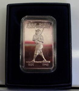 "Rare MEM's ""Babe Ruth"" .999 One Troy Oz Silver Artbar, Lovely Toning, 1973, FS"