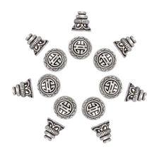 20 Tibetan Alloy Guru Beads 3-Hole w/ Bead Caps Finish Buddha Carved Silver 10mm