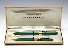 Vintage Sheaffer Snorkel Valiant Fountain Pen & Pencil Set w/ Box - Pastel Green