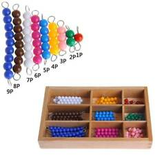 Montessori Mathematics Material 1-9 Beads Bar And Wooden Box Early Preschool Toy