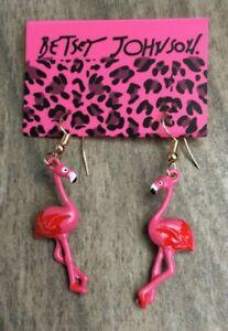 Betsy Johnson Red & Pink Dangling Flamingo Pierced Hook Earrings New!