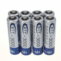 Popular 8pcs AA 3000mAh 1.2V Ni-MH Rechargeable Battery BTY Cell for RC Toys MP3