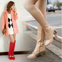 Womens Fashion Zip Patent Leather Block Heels Knee High Boots Knight Boots Shoes