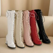 Womens Bowknot Knee-High High Heels Lace-Up Boots Round Toe Long Boot Zip Shoes
