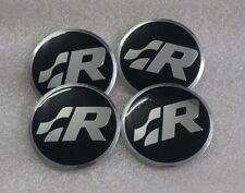 Set of 4 SR R Line Polo VW Sticker Wheel Center Cap Badge 57MM Aluminium Domed