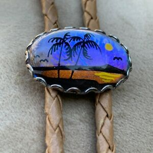 Vintage Butterfly Wing Bolo Tie - Beach Scene - Palm Trees - Leather