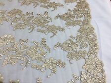Embroidered Lace fabric Champagne Flower Corded Mesh Bridal-Wedding By The Yard