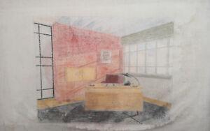 1962 Pastel Painting Theatre Scene Design Room signed