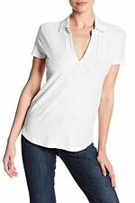 JAMES PERSE Standard Curved Hem POLO Collar Top Shirt WHITE ( 3 ) Free Shipping