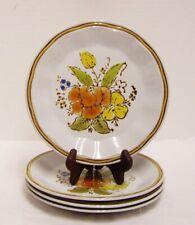 New listing Japan Stoneware Wildflower Salad Plates Orange Yellow Flowers Set of 4 Vintage